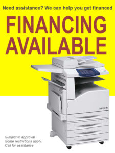We finance printers and printing supplies