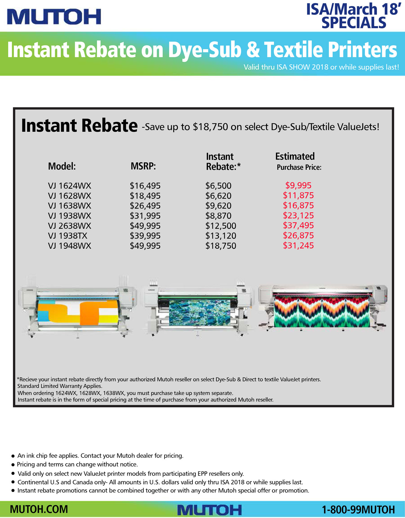 Mutoh: Instant rebate on dye-sub & textile printers